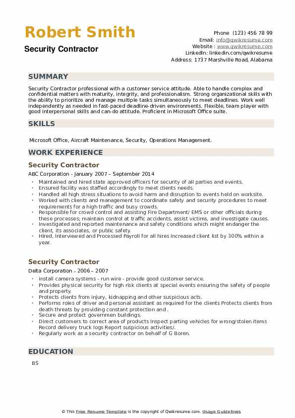 Security Contractor Resume example