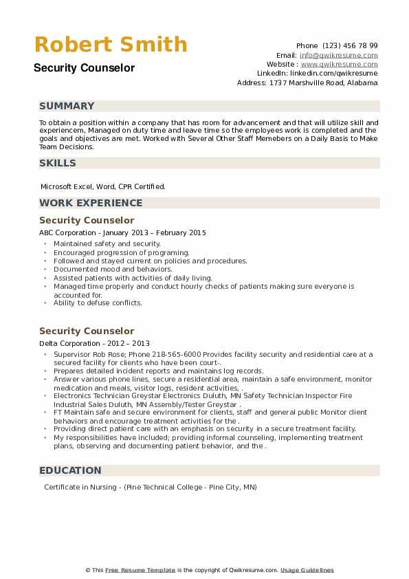 Security Counselor Resume example