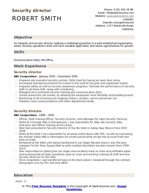 Security Director Resume example