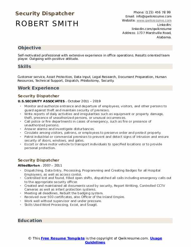 Security Dispatcher Resume Sample