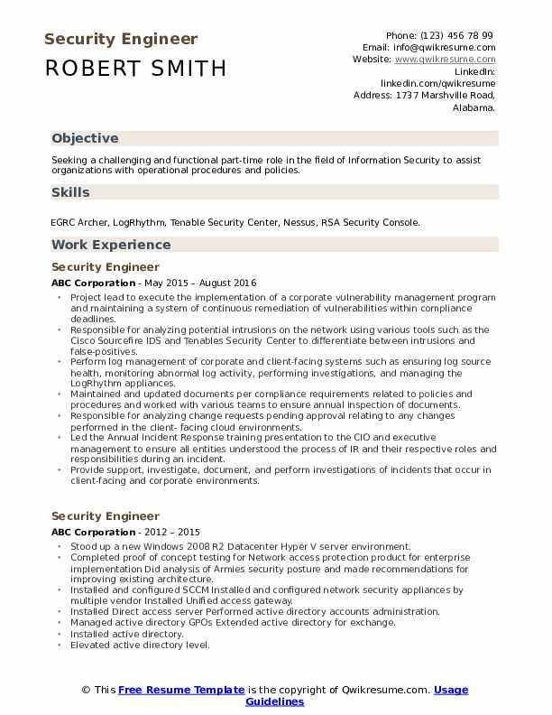 Security Engineer Resume Sample