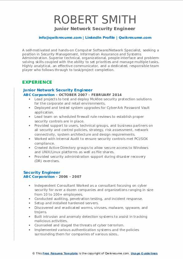 Junior Network Security Engineer Resume Format