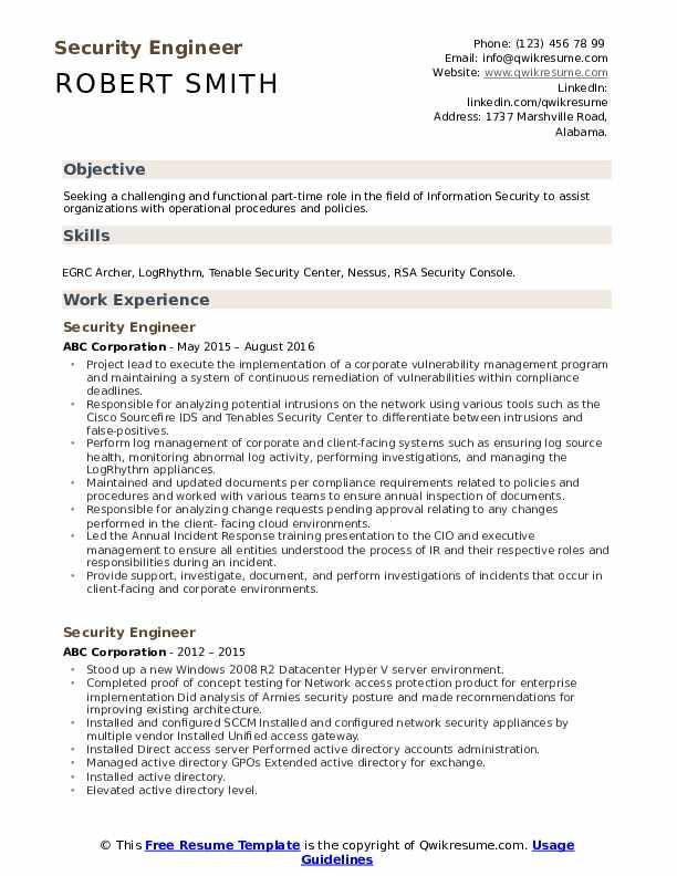 security engineer resume samples