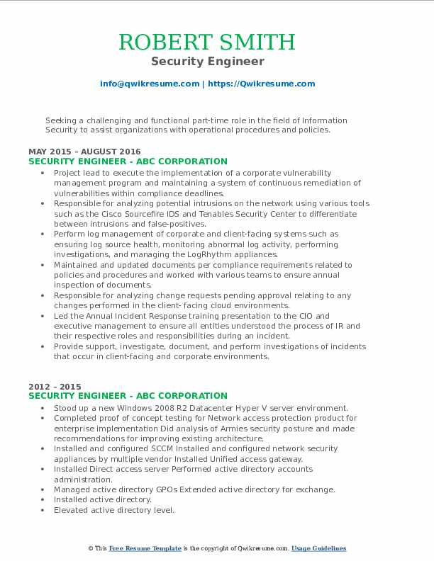 information security consultant resume samples  qwikresume