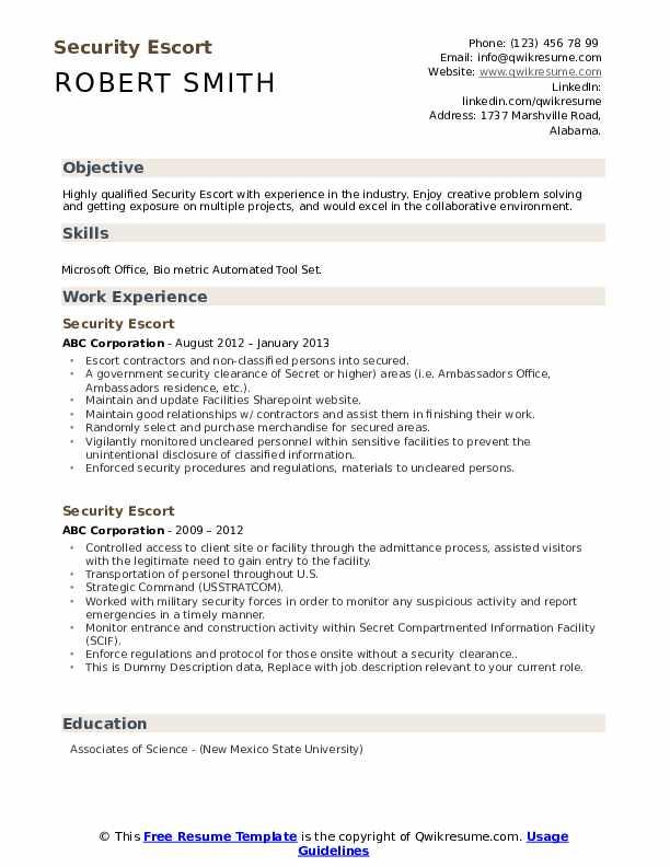Security Escort Resume example