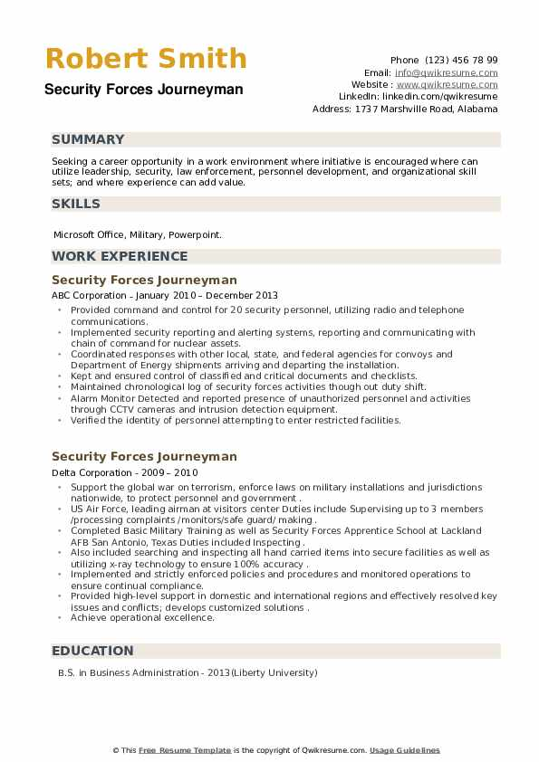 Security Forces Journeyman Resume example