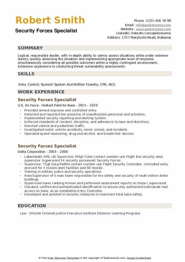 Security Forces Specialist Resume example