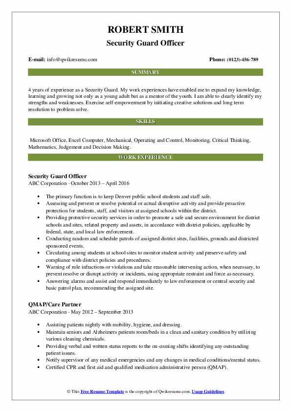 Security Guard Officer Resume Template