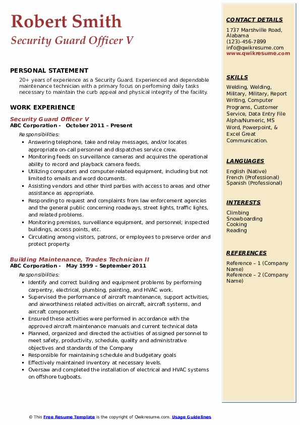 Security Guard Officer V Resume Template