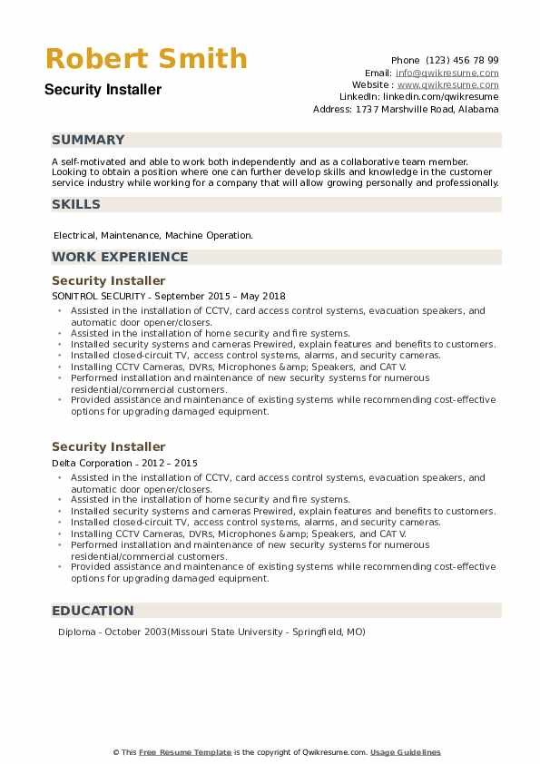 Security Installer Resume example