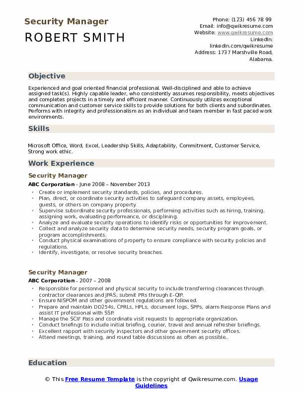 Security Manager Resume Samples Qwikresume