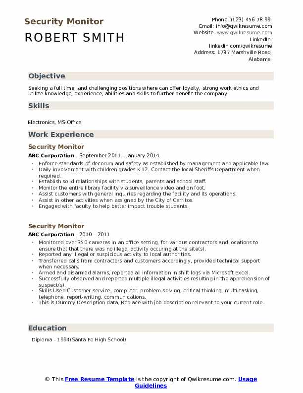 Security Monitor Resume example