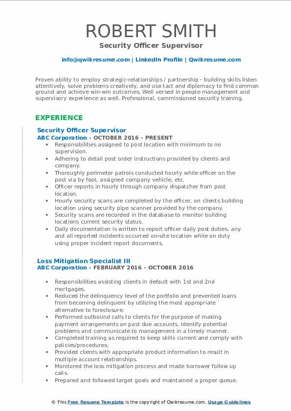 Security Officer Supervisor Resume Template