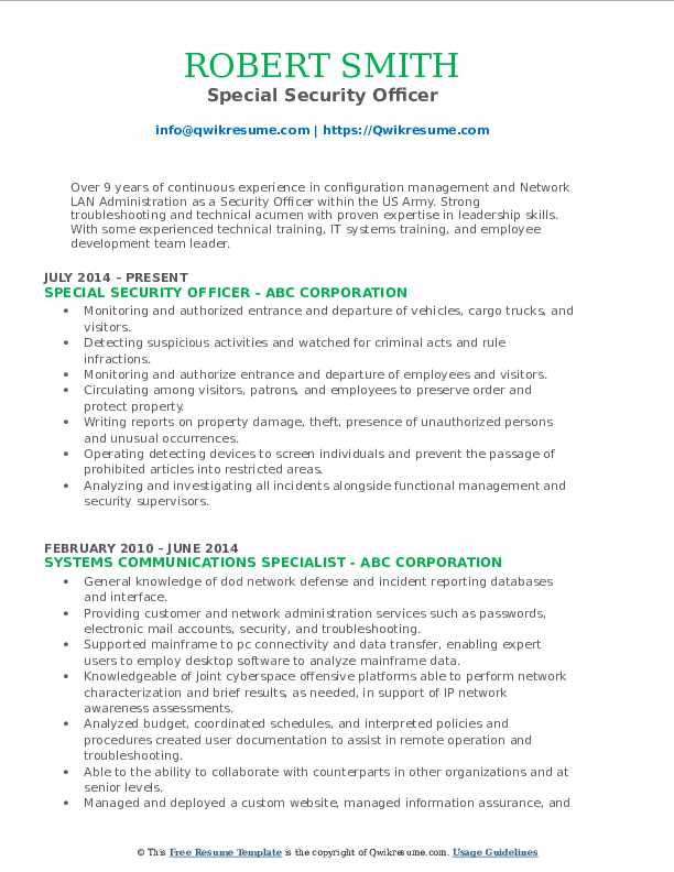 Special Security Officer Resume Sample