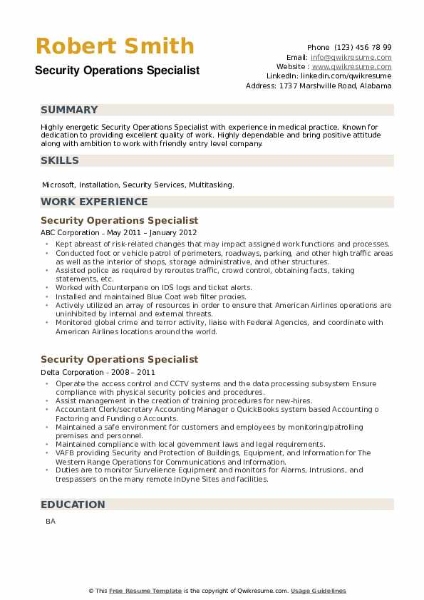Security Operations Specialist Resume example