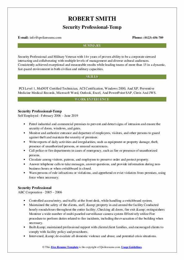 Security Professional-Temp Resume Sample
