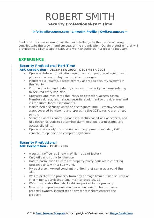 Security Professional-Part Time Resume Format