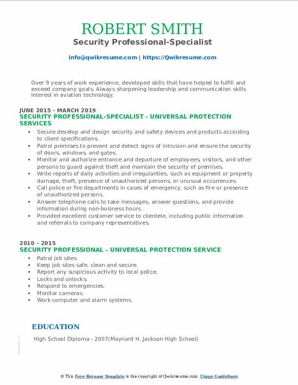 Security Professional-Specialist Resume Sample