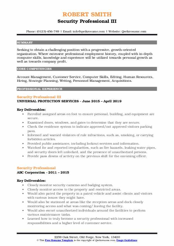 Security Professional III Resume Sample