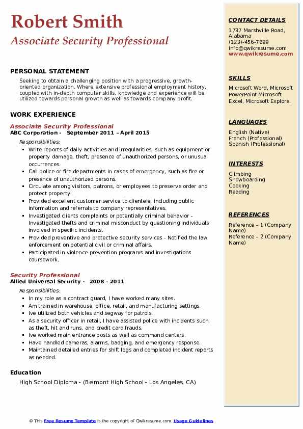 Associate Security Professional Resume Sample