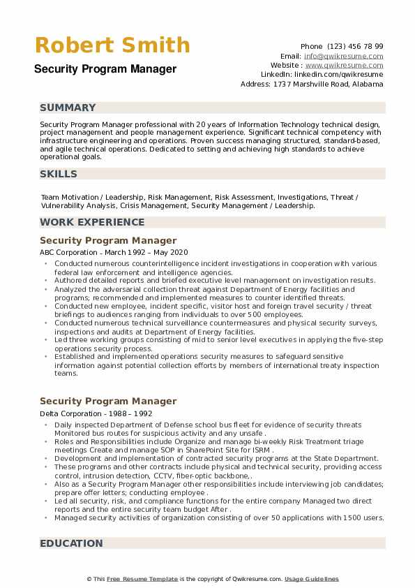 Security Program Manager Resume example