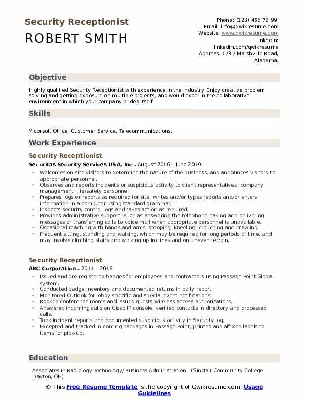 Security Receptionist Resume Model