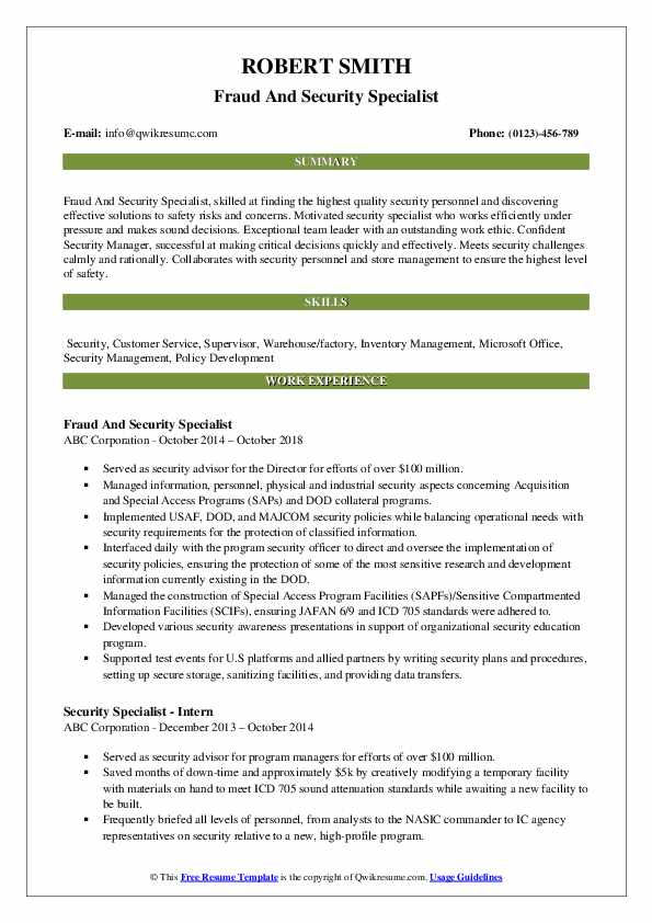 Fraud And Security Specialist Resume Example