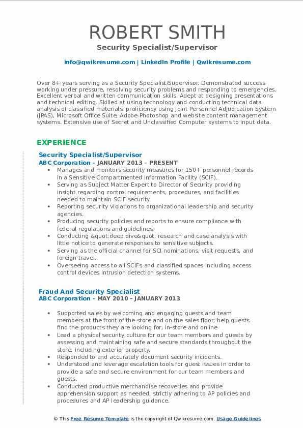 Security Specialist Resume Samples Qwikresume