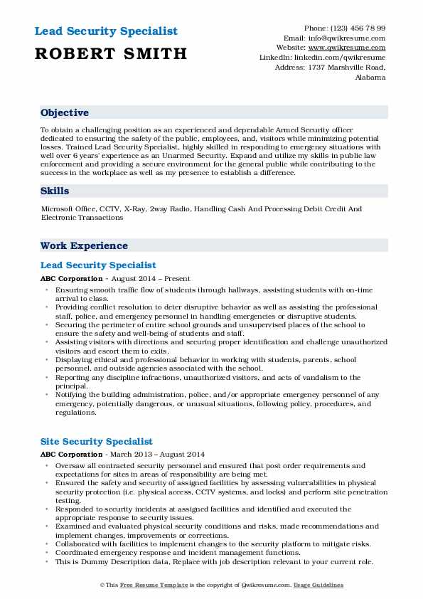 Lead Security Specialist Resume Sample