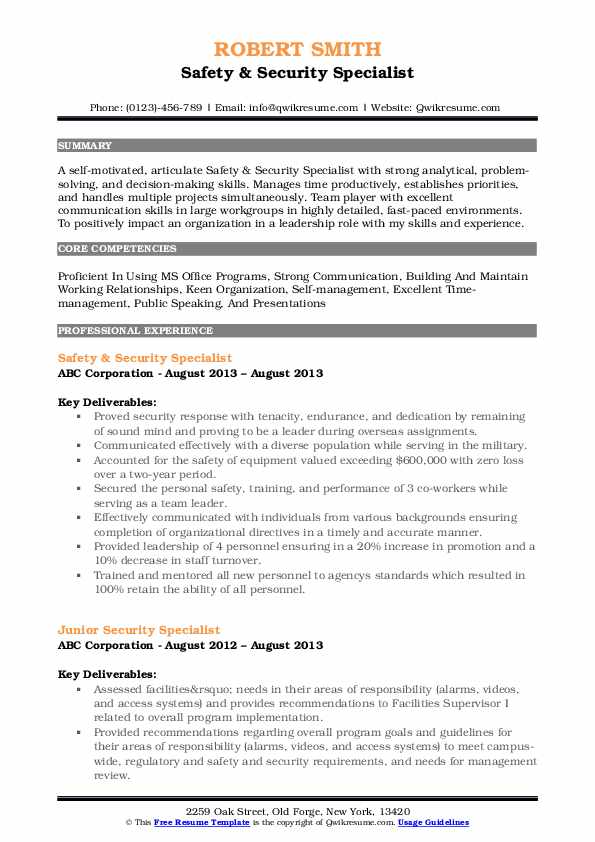 Safety & Security Specialist Resume Sample