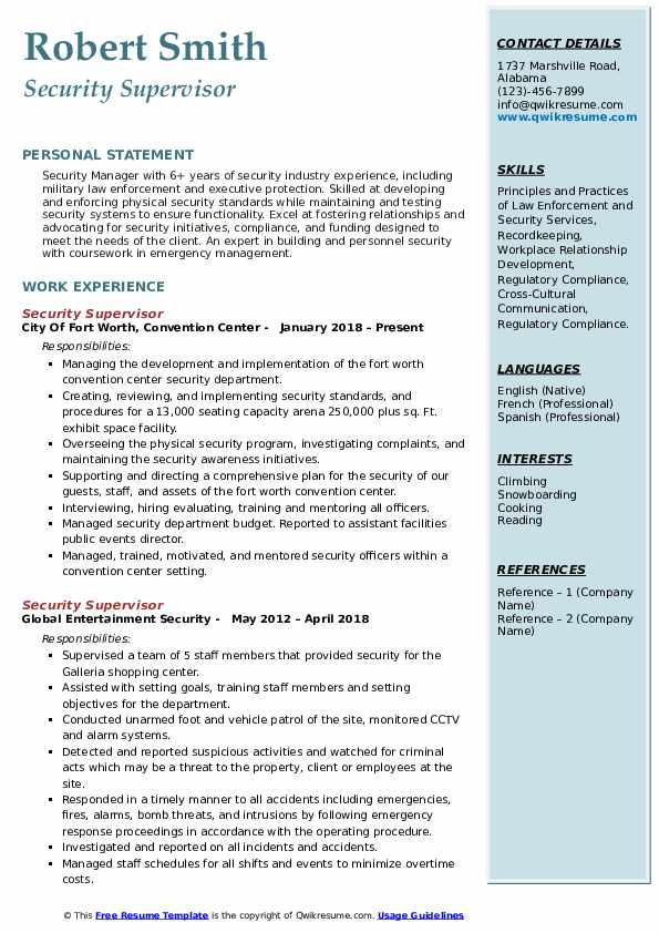 Security Supervisor Resume Format