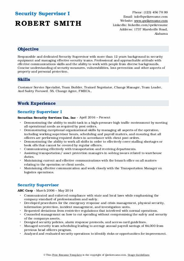 Security Supervisor I Resume Format