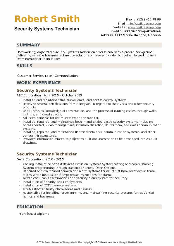 Security Systems Technician Resume example