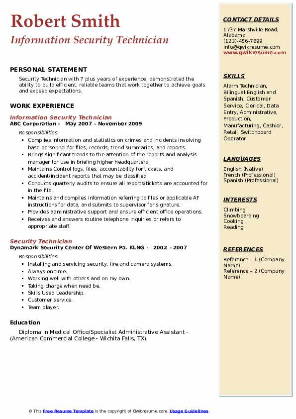 Information Security Technician Resume Model