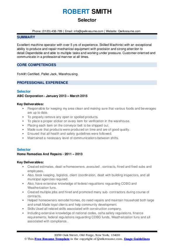 Selector Resume Model