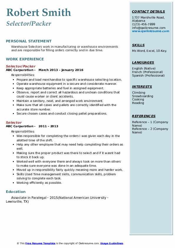 Selector/Packer Resume Template