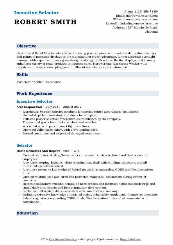 Incentive Selector Resume Sample