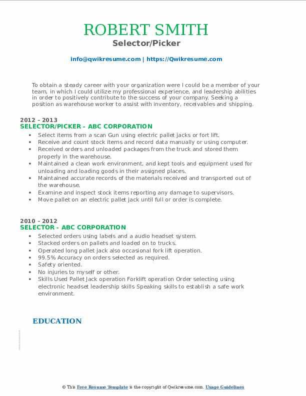 Selector/Picker Resume Sample