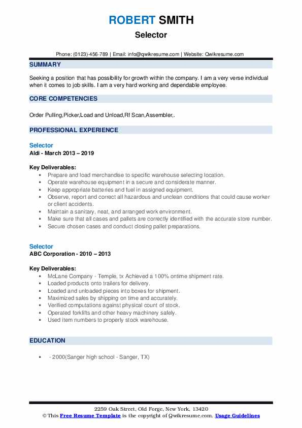 Selector Resume example