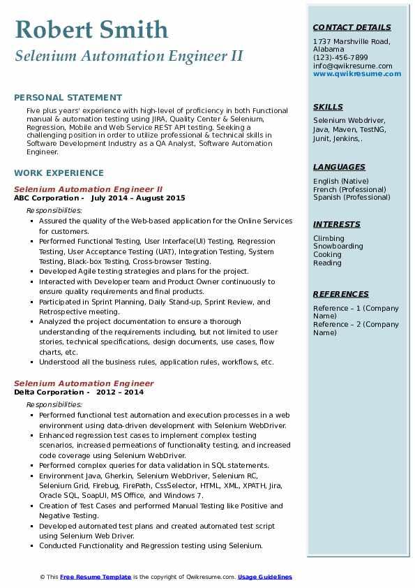 selenium automation engineer resume samples  qwikresume