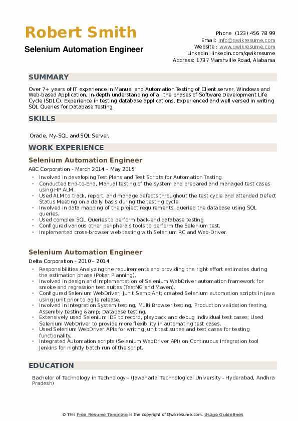 Selenium Automation Engineer Resume example