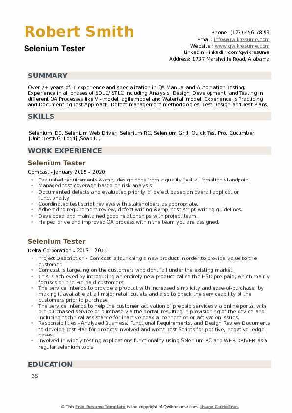 Selenium Tester Resume example