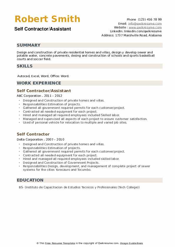 Self Contractor Resume example