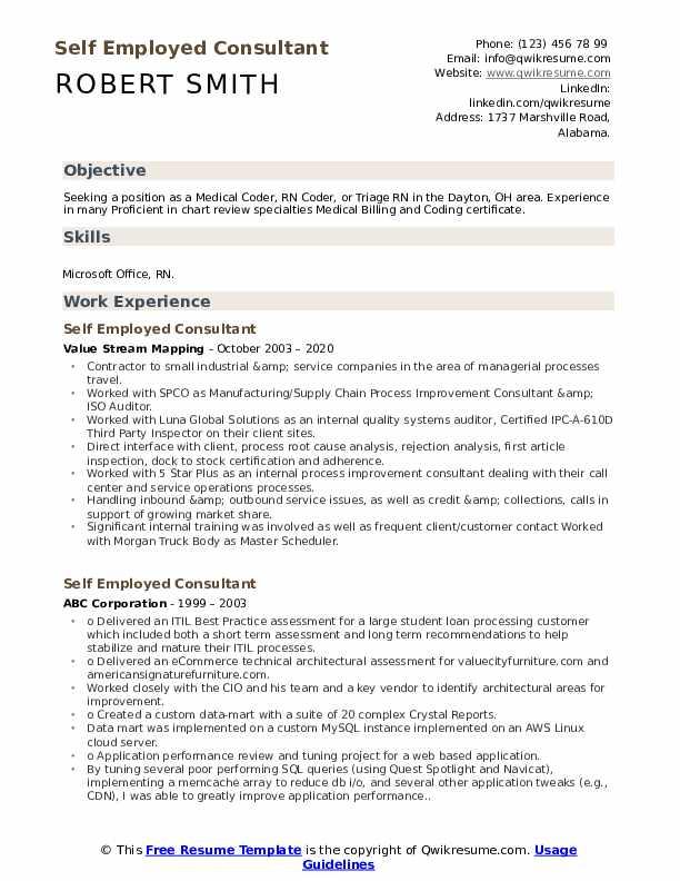 self employment resume