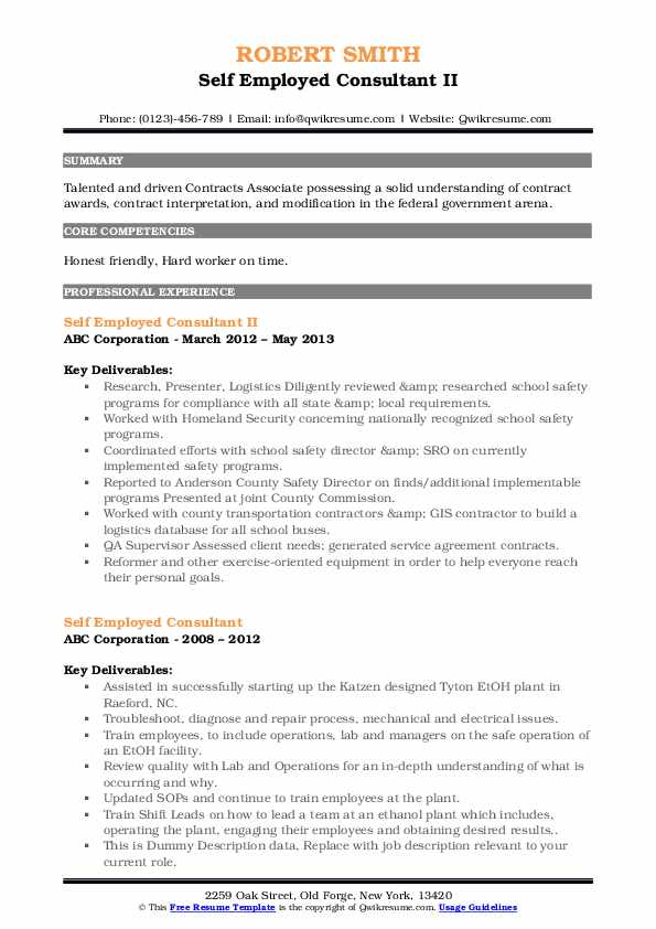self employed consultant resume samples
