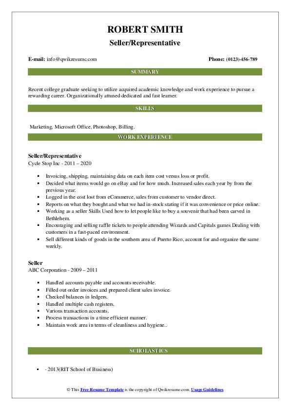 Seller Resume Samples Qwikresume