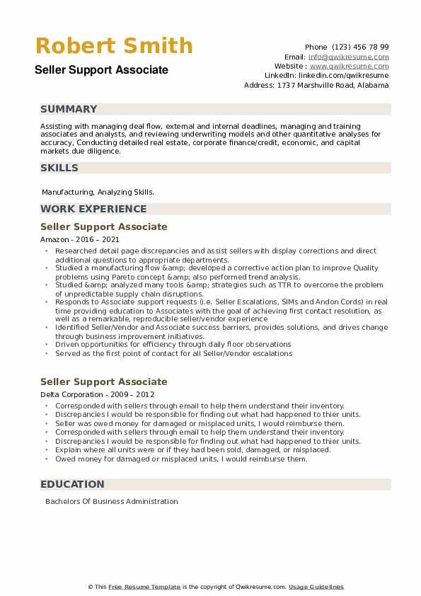 Seller Support Associate Resume example