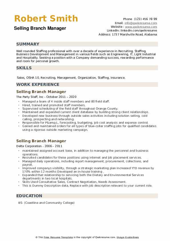 Selling Branch Manager Resume example
