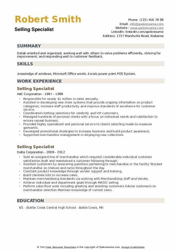 Selling Specialist Resume example