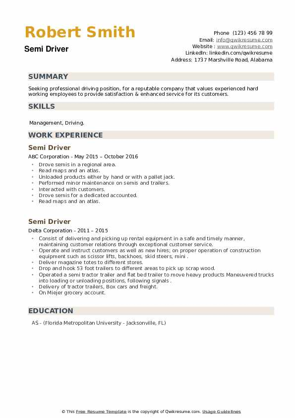 Semi Driver Resume example